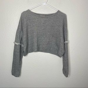 Pacsun La Hearts Grey Crop Long Sleeve Sweater